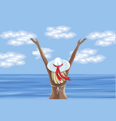Woman in swimsuit enjoying summer time and looking vector