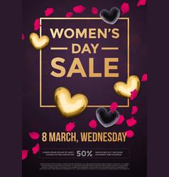 women day sale poster on gold glitter heart vector image