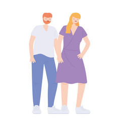 young couple character together cartoon isolated vector image