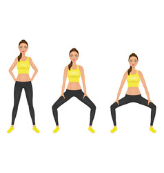 young woman make squats exercises with hands vector image