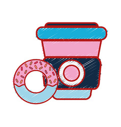 Delicious donut with coffee plastic cup to eat vector