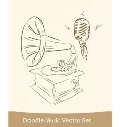 Doodle music set isolated on white background vector