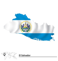 Map of El Salvador with flag vector image