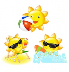 cartoon suns vector image vector image