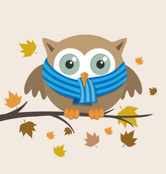 male owl with scarf on a fall day vector image vector image
