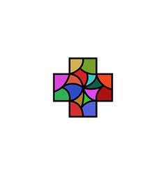 Religious or medical logo in the shape of a cross vector image