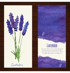 banners with watercolor lavender vector image vector image