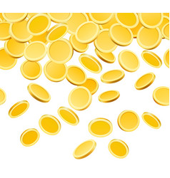falling golden coins isolated on white vector image vector image