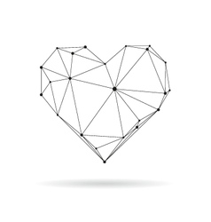 Geometric heart design silhouette vector image