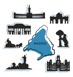 madrid city landmarks and monuments vector image