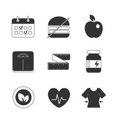 Healthy fitness diet icons set vector image vector image