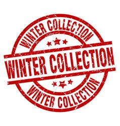 Winter collection round red grunge stamp vector