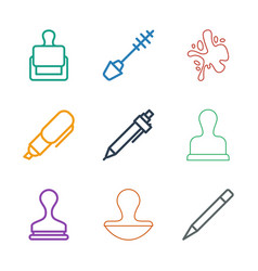 9 ink icons vector image