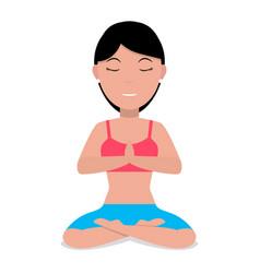 a cartoon girl doing yoga vector image vector image