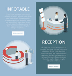 Administration and information desk flyers vector