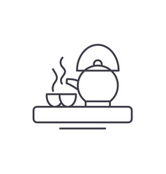 asian tea line icon concept asian tea vector image