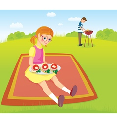 At the picnic vector image