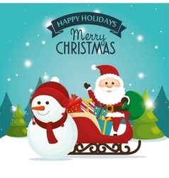 beautiful card happy holidays xmas santa snowman vector image