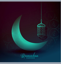Beautiful eid moon and lantern light effect vector