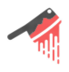 blood butchery knife halftone dotted icon vector image
