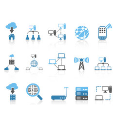 blue color series computer communication icons set vector image