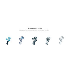 Budding staff icon in different style two vector