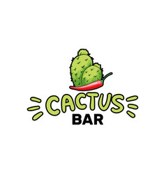 cactus bar logo and chili pepper hand drawn vector image