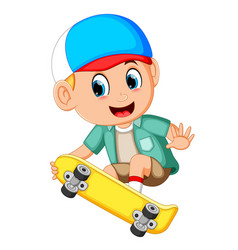 cartoon of boy on a skateboard and smile vector image