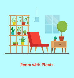 cartoon room with furniture and plants card vector image