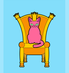 cat on throne regal pet boss royal chair vector image