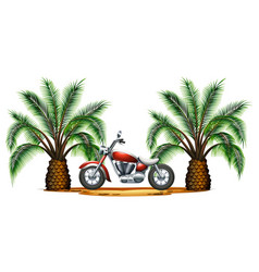 Classic motorcycle in garden vector