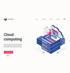 Cloud computing tech concept isometric landing vector