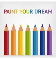 Colored rainbow pencils background vector