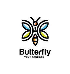 colorful abstract geometric line butterfly logo vector image