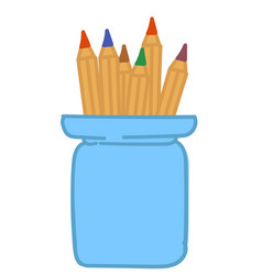 colorful pencils in cup stationery office supply vector image
