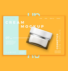 Cosmetic cream bottle modern site template vector