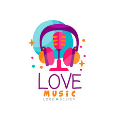 creative emblem with headphones and retro vector image