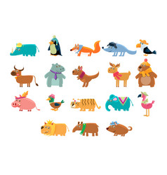 cute animals big set in bright colors childish vector image