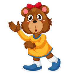 Cute girl brown bear vector