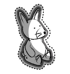 cute rabbit baby toy icon vector image