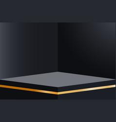 Dark empty room interior design with platform vector