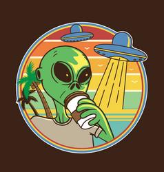 Design alien drink coffee at beach vector