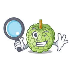 Detective character custard apple tropical fruit vector
