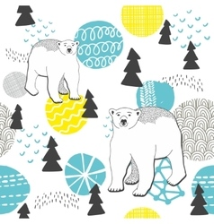 Endless pattern with winter forest and white bears vector