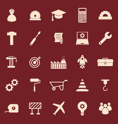 engineering color icons on red background vector image