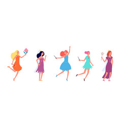 fairy ladies cartoon princess girls in festive vector image
