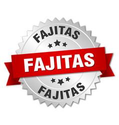 Fajitas 3d silver badge with red ribbon vector