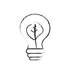 Figure energy bulb with leaf inside to environment vector