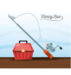 fishing equipment bucket and rod vector image