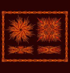 Flaming patterns set vector